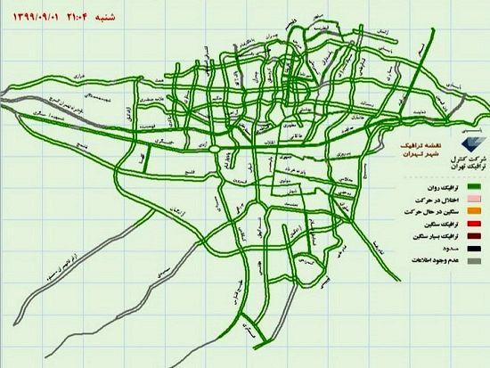 نقشه آنلاین ترافیک تهران در ساعت ۲۱