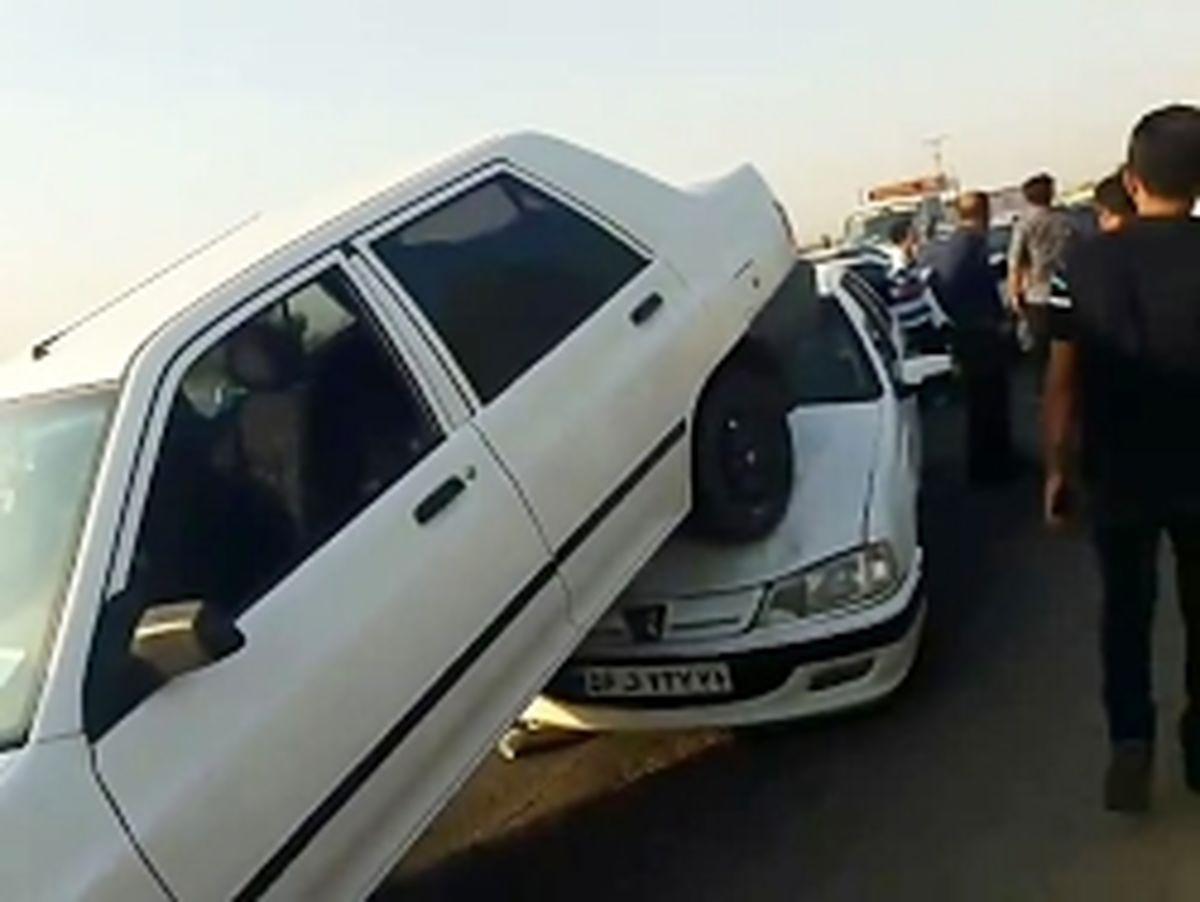 تصادف زنجیرهای وحشتناک در اتوبان قزوین