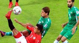 تساوی تیمهای ملی فوتبال عراق و بحرین در نیمه نخست