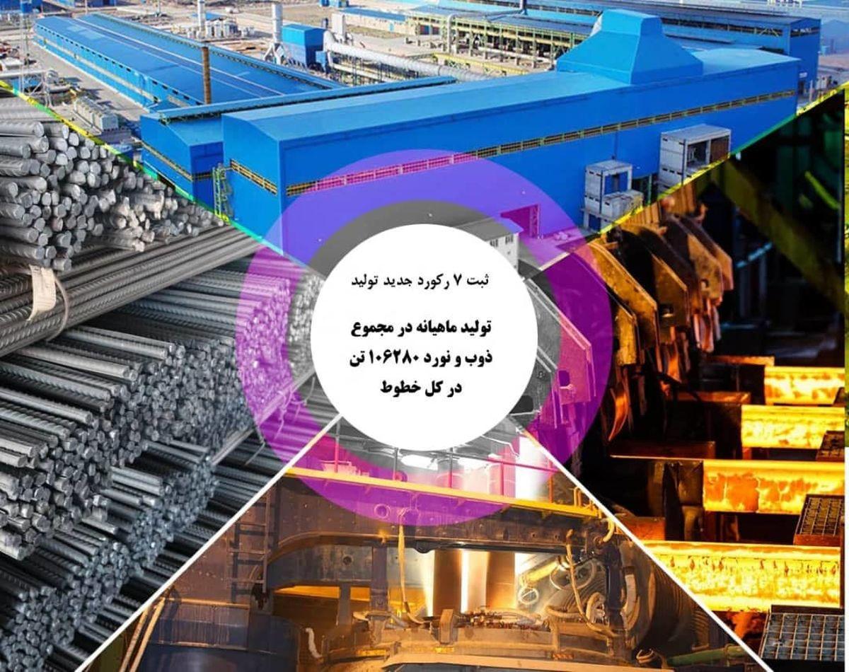 ثبت 7 رکورد جدید تولید در مجتمع فولاد صنعت بناب