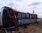واژگونی اتوبوس در محور سمنان- دامغان