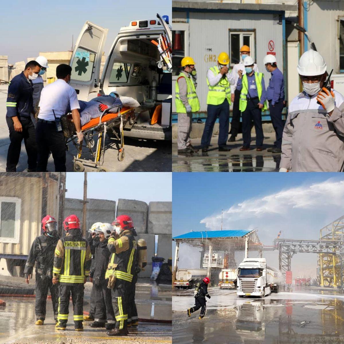 برگزاری مانور مشترک منطقه ای سطح ۲ آموزشی ـ عملیاتی در پتروشیمی پارس
