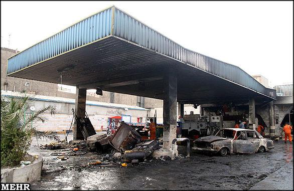به آتش کشیده شدن پمپ بنزینی در خمینی شهر + فیلم