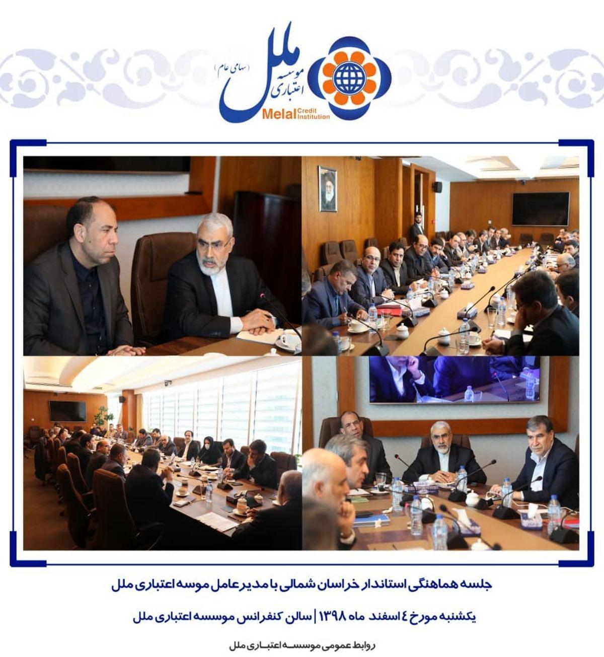 جلسه استاندار خراسان شمالی با مدیرعامل موسسه اعتباری ملل برای ایجاد اشتغال در استان