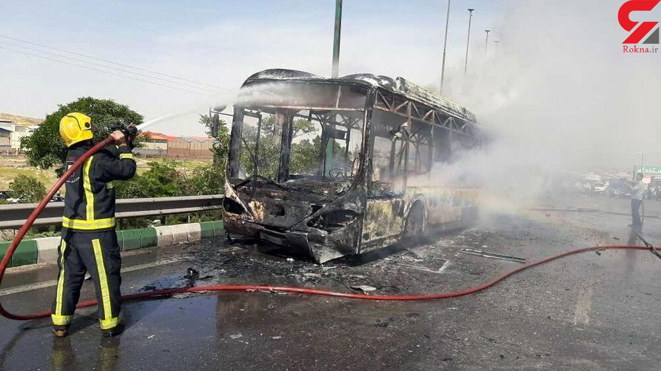 فیلم آتش سوزی مهیب اتوبوس شرکت واحد در تبریز +عکس