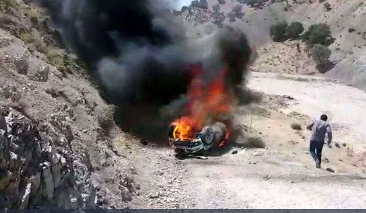 زنده زنده سوختن راننده خودرو در راه کربلا + فیلم
