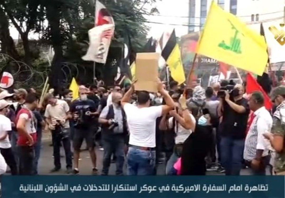 تظاهرات مردم خشمگین لبنان علیه آمریکا
