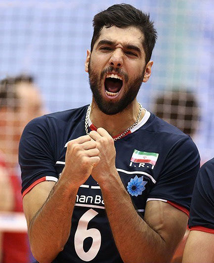 پرونده:Mohammad Mousavi during a volleyball match between Iran and ...