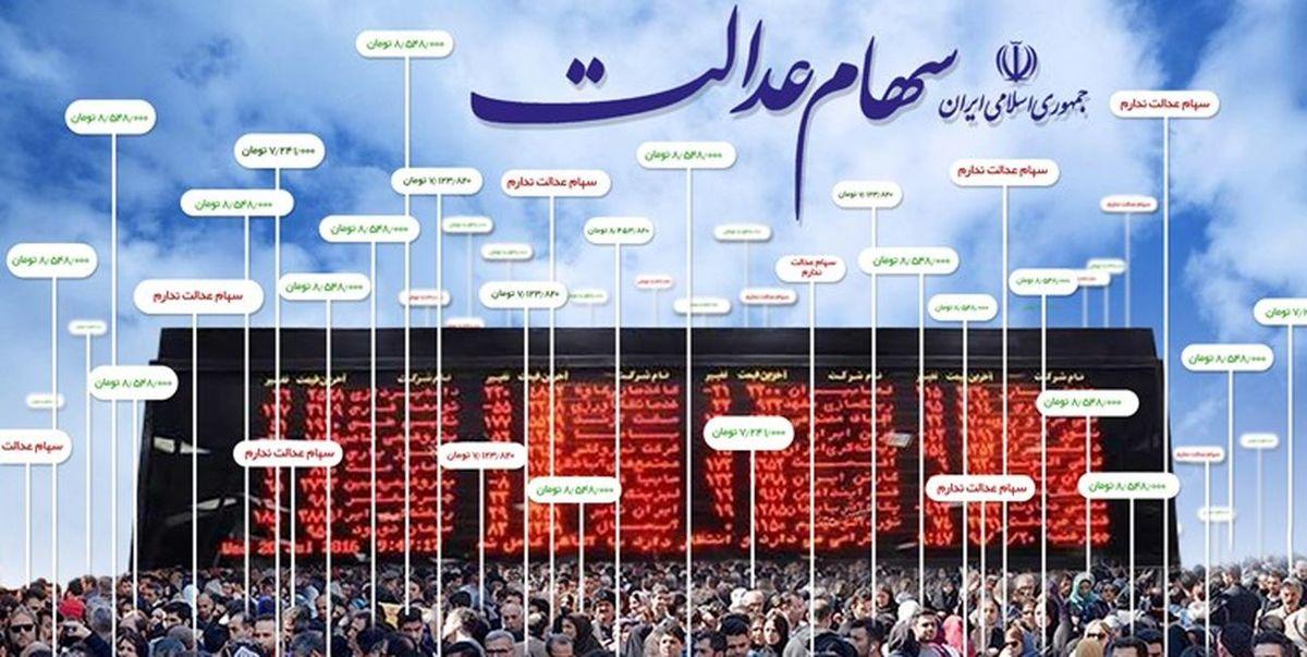 ارزش روز سهام عدالت شنبه 24 آبان
