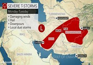 طوفان و رعد و برق شدید دوشنبه در ایران