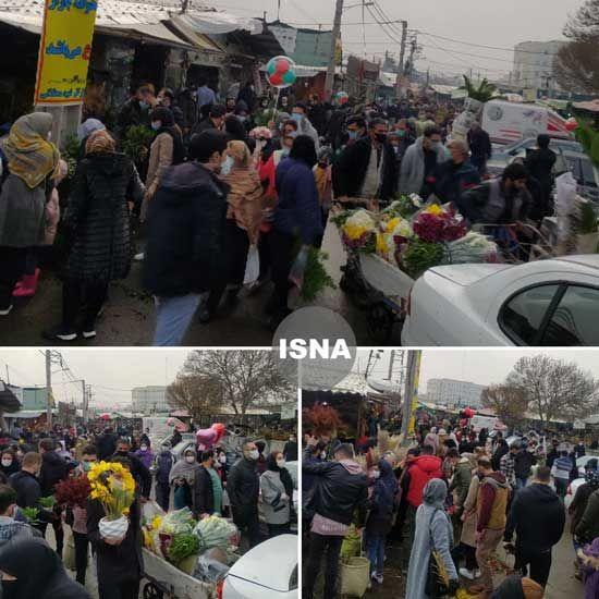 ازدحام عجیب مردم در بازار گل تهران