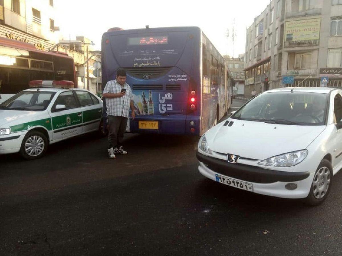 تصادف مرگبار موتورسیکلت با اتوبوس + عکس