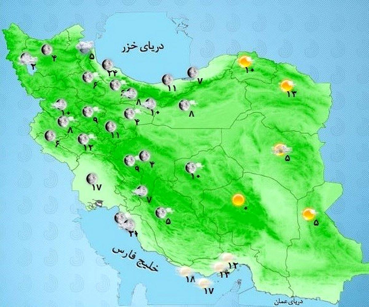 پیش بینی وضعیت هواشناسی ایران 19 بهمن