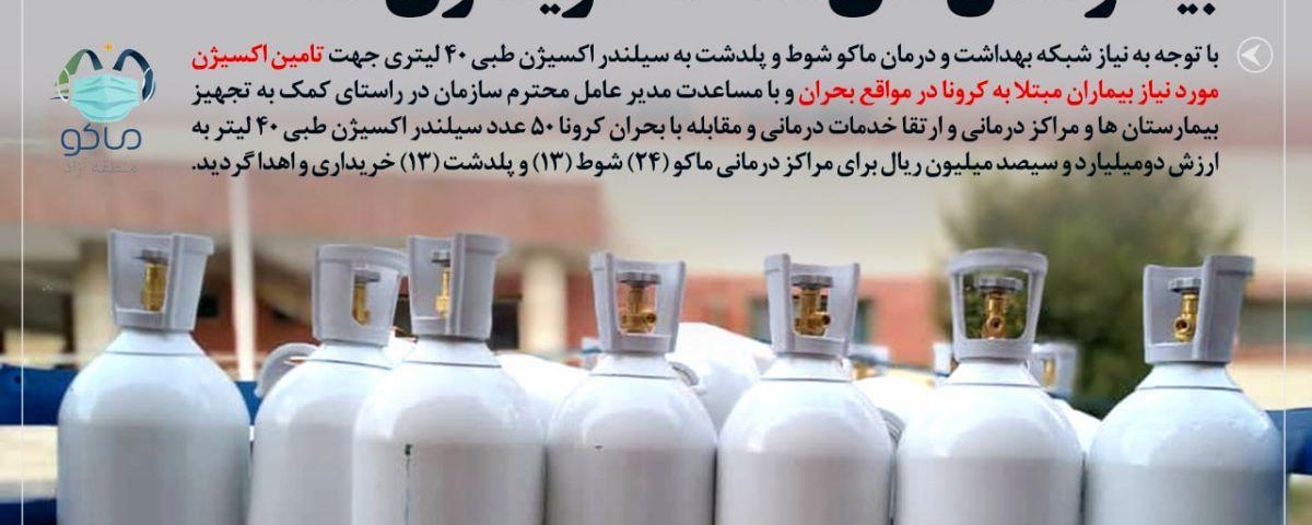 خریداری ۵۰ عددکپسول اکسیژن طبی برای بیمارستانهای منطقه آزاد ماکو